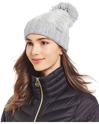 79e81ba1e38 Lyst - Michael Kors Tweed Pom-pom Beanie in Black