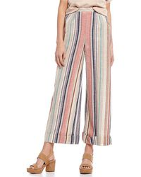 Angie - Striped Cuffed Culotte Pants - Lyst