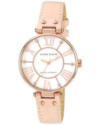 Anne Klein | Light Pink Leather Strap Watch | Lyst
