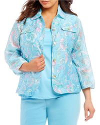 Ruby Rd. - Plus 3/4 Sleeve Button Front Floral Print Crinkle Burnout Jacket - Lyst