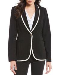 Calvin Klein - Lux Stretch Suiting Contrast Trim Shawl Collar One Button Blazer Jacket - Lyst