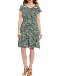 MICHAEL Michael Kors - Plus Size Tiny Wildflowers Floral Print Cut-out Shirred Neck Flare Dress - Lyst