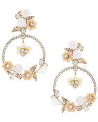 Marchesa - Floral Orbital Drop Statement Earrings - Lyst