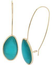 Kenneth Cole Blue Shell Stone Long Drop Earrings