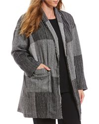 773547ae87a Eileen Fisher - Plus Size Shawl Collar Long Jacket - Lyst