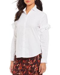 Antonio Melani - Ashton Shoulder Ruffle Button Front Novelty Shirting Blouse - Lyst