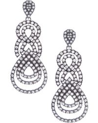 Belle By Badgley Mischka - Pave Loop Drop Earrings - Lyst