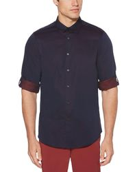 Perry Ellis - Big & Tall Solid Roll-tab Sleeve Yarn-dyed Jacquard Long-sleeve Woven Shirt - Lyst