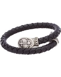 ALEX AND ANI - Men's Braided Anchor Leather Wrap Bracelet - Lyst