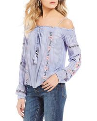 Jolt - Striped Floral Embroidered Cold Shoulder Top - Lyst
