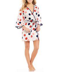 Kate Spade - Balloon-printed Charmeuse Kimono Wrap Robe - Lyst