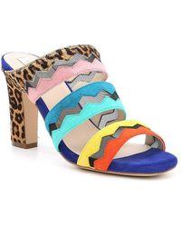 Cole Haan Emilia Calf Hair Colorblock Suede Block Heel Dress Sandals UToRbh