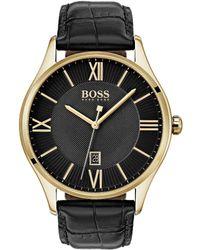 BOSS - Govenor Croc Leather Watch - Lyst