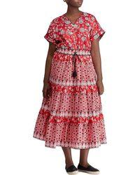 Lauren by Ralph Lauren - Plus Size Print Sateen Midi Dress - Lyst