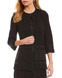 Misook - Jewel Neck Embellished Jacket - Lyst