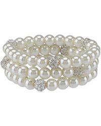 Cezanne - Faux-pearl & Pav Fireball Bracelet Set - Lyst