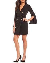 Calvin Klein - Double Breasted Split Sleeve Coat Dress - Lyst