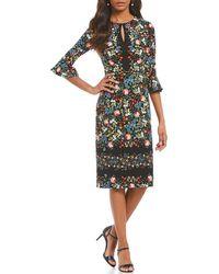 Maggy London - Printed Scuba Crepe Sheath Dress - Lyst