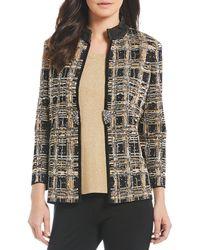 Misook - Mandarin Collar Textured Plaid Knit Jacket - Lyst