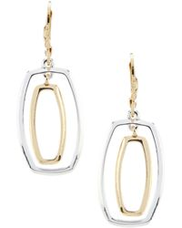 Anne Klein - Two Tone Orbital Drop Earrings - Lyst