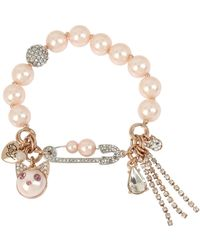 Betsey Johnson - Cat Multi Charm Pearl Stretch Bracelet - Lyst