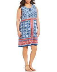 Ruby Rd. - Plus Size Americana Handkerchief Placement Print Sleeveless Knit Dress - Lyst