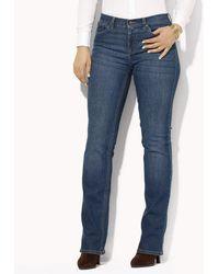 Lauren by Ralph Lauren - Plus Super-stretch Classic Straight-leg Harbor-wash Jeans - Lyst