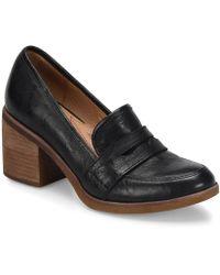 Söfft - Sophia Block Heel Leather Penny Loafers - Lyst