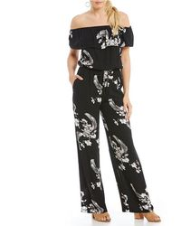 Chelsea & Violet - Off-the-shoulder Short Sleeve Printed Jumpsuit - Lyst