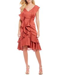 3912ecbdba Gianni Bini - Raffi Ruffle Satin Dress - Lyst