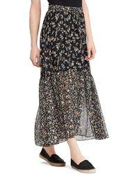 Lauren by Ralph Lauren - Floral Print Tiered Georgette Maxi Skirt - Lyst