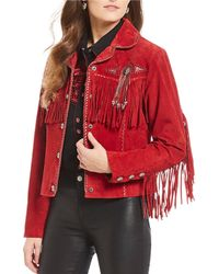 Scully - Fringe Beaded Boar Suede Leather Jacket - Lyst