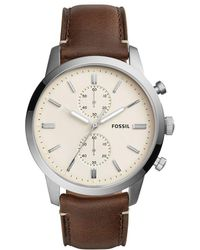 Fossil - Townsman Chronograph Cream Dial Leather-strap Watch - Lyst