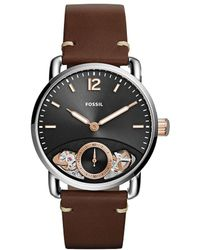 Fossil - The Commuter Twist Brown Leather Watch - Lyst