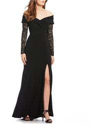 fd7f31a8 Xscape Embellished One Shoulder Mesh Mermaid Gown in Blue - Lyst