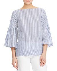 Lauren by Ralph Lauren - Petite Size Bell-sleeve Stripe Cotton Top - Lyst
