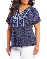 d7697262e6a0bb MICHAEL Michael Kors - Plus Size Wave Stripe Mosaic Print Kimono Sleeve  Knit Top - Lyst