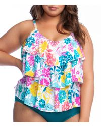 7b705a5f9d1b4 Kenneth Cole Reaction Kenneth Cole Plus-size Ruffle-licious Ruffle-tier  Tankini in Pink - Save 88% - Lyst