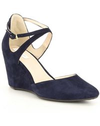 52309a71c824 Lyst - Cole Haan Lacey Ankle Strap Wedge (75mm) in Gray
