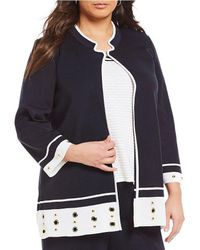 Ming Wang - Plus Mandarin Collar Grommet Trim Jacket - Lyst