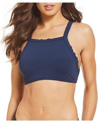 Roxy - Waves Only Ribbed High Neck Crop Bikini Swimsuit Top - Lyst