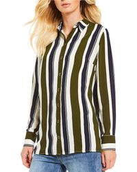 Gianni Bini - Karlie Mixed Stripe Button Front Shirt - Lyst