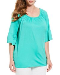 MICHAEL Michael Kors - Plus Size Knit Jersey Gathered Neck Bell Sleeve Peasant Top - Lyst