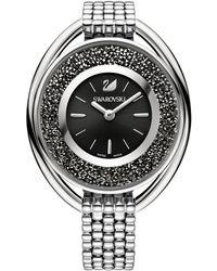 Swarovski - Crystalline Oval Crystal Analog Leather-strap Watch - Lyst