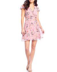 Gianni Bini - Becca Ruffle V-neckline Floral Motif Print Wrap Georgette Dress - Lyst