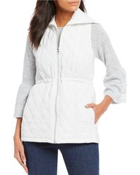 Ruby Rd. - Portrait Collar Zip-front Quilted Solid Lightweight Polyester Poplin Vest - Lyst