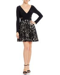 Xscape - Long Sleeve Embroidered Fit And Flare Dress - Lyst