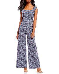 Chelsea & Violet - Floral Print Jacquard Jumpsuit - Lyst