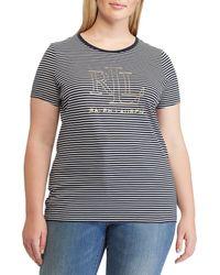 Lauren by Ralph Lauren - Plus Size Striped Foil-logo T-shirt - Lyst