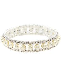 Cezanne - Rhinestone And Pearl Stretch Bracelet - Lyst